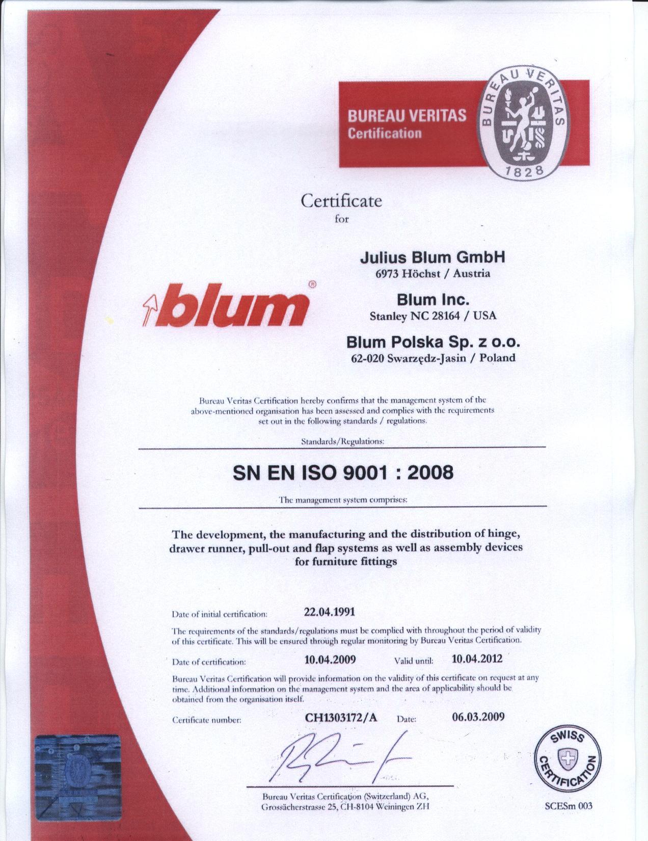 Blum iso 9001