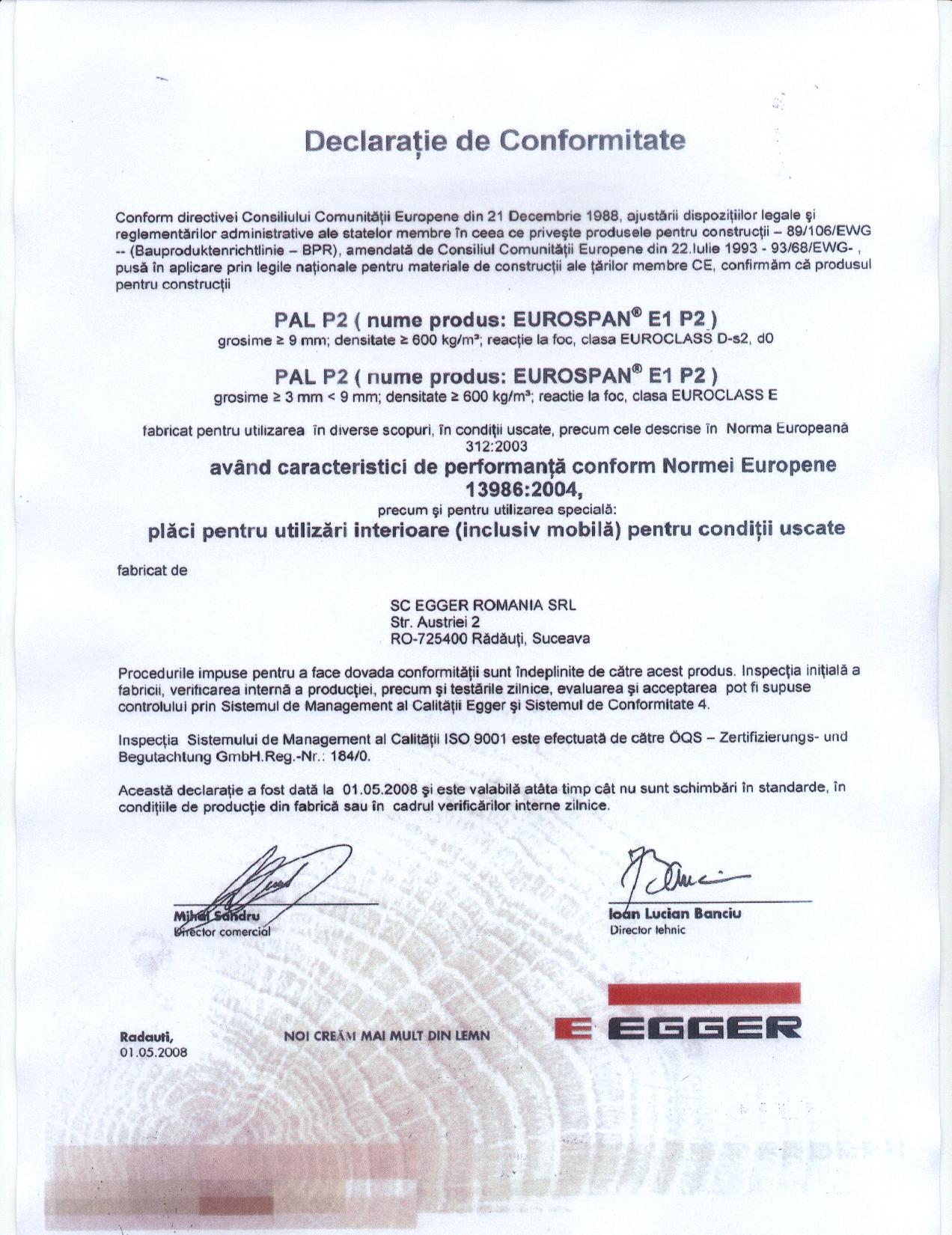 Certificat conformitate egger